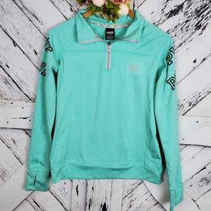 PINK Victoria's Secret 1/2 Zip Up Pullover Green S